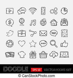 Doodle mobile apps Symbole gesetzt.