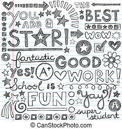 doodles, groß, arbeit, schule, lob