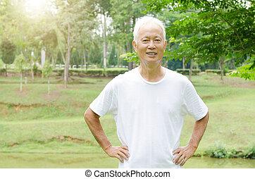 draußen, altes , asiatisch, porträt, glücklich, mann
