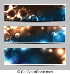 Drei Banner mit glühenden Lichtern und Flecken