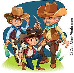 Drei Cowboys in verschiedenen Positionen.