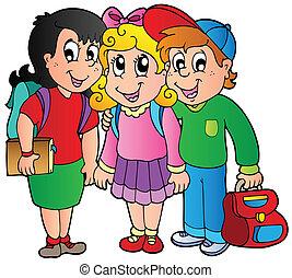 Drei glückliche Schulkinder
