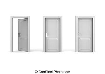 Drei graue Türen - zwei geschlossen, die linke geöffnet