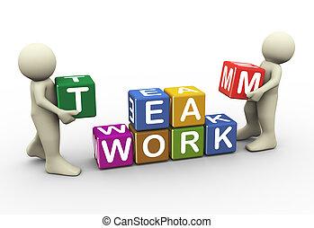 Drei Leute arbeiten zusammen
