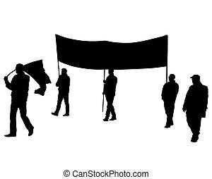 drei leute, flaggen