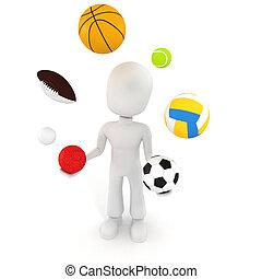 Drei Männer spielen mit verschiedenen Sportbällen