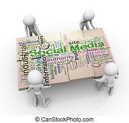 Drei Männer und soziale Medien, Puzzle-Frieden