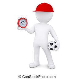 Drei Mann mit Fußball und Uhr