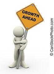 Drei Mann mit Wachstum vor dem Schild