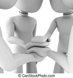 Drei Mann Teamwork, isoliert auf weiß