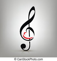 dreifach, liebe, begriff, abbildung, musik, heart-shaped, notenschluessel