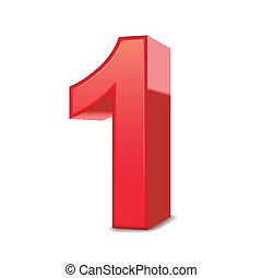 Dreifache rote Nummer 1.