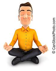 Dreifacher Mann macht Yoga.