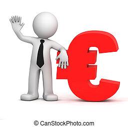 Dreiter Geschäftsmann mit dem Euro-Währungszeichen