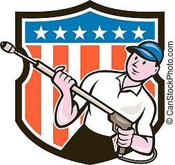 Druck-Wasserstrahler USA Flag Cartoon.