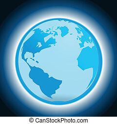 Dunkelblauer Hintergrund mit Globus.