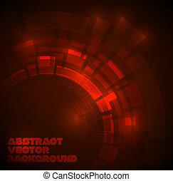 Dunkelroter technischer Hintergrund abbrechen