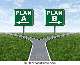 Durchqueren Straßen mit Plan B Straßenschildern