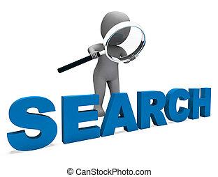 durchsuchung, online, zeichen, forschung, internet, finden, shows