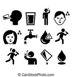 durst, leute, mund, durstig, trocken, trinken, mann, wasser, heiligenbilder, satz