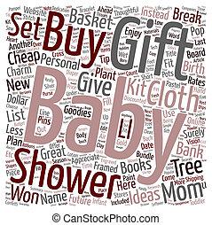 dusche, begriff, text, billig, ideen, geschenke, baby, nachdenklich, gewonnen, t, hintergrund, brechen, wordcloud, bank