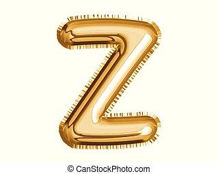 dusche, gold, alphabet, balloon, luft, dekoration, baby, party, z, feiern