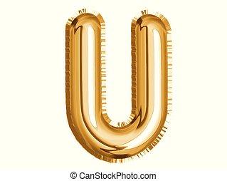 dusche, gold, alphabet, balloon, luft, dekoration, u, baby, party, feiern