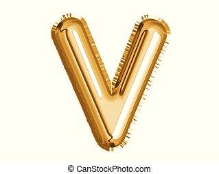 dusche, gold, alphabet, balloon, luft, dekoration, v, baby, party, feiern