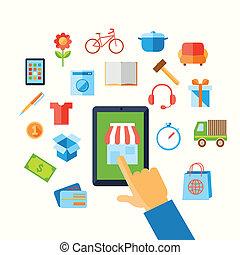 e-commerz, begriff, shoppen, hand