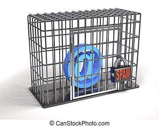 E-Mail ist ein Gefangener von Spam (3d Illustration).