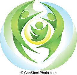 Eco-icon mit glücklicher grüner Familie