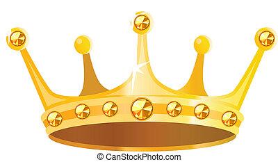 edelsteine, goldene krone, freigestellt, hintergrund, weißes