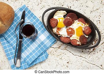 eier, gebraten, pfanne, sausage