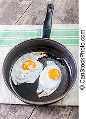 eier, gebraten, pfanne