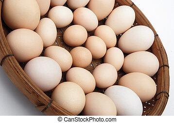 Eier in einem Korb.