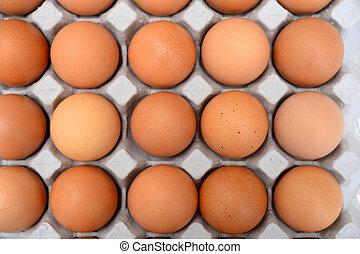 Eier in einer Schachtel.