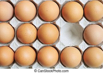 Eier in Karton