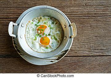 Eier in Pfanne.