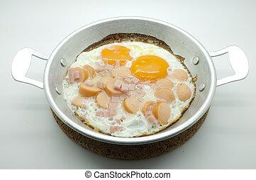 Eier mit Schinken und Würstchen.