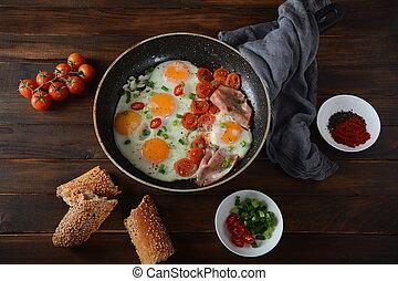 eier, pfanne, gebraten