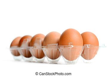 Eier verpackt.