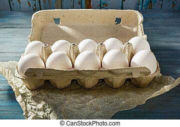 eier, weißes, verpackung