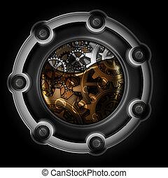 Ein abstrakter Mechanismus. Gears in Maschinenöl.