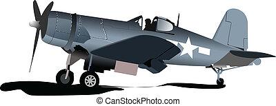 Ein alter militärischer Kampf. Flugzeug. Luftfutter
