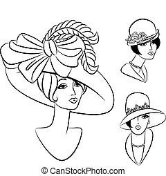 Ein altmodisches Mädchen mit Hut.