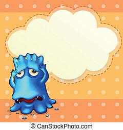 Ein blaues Monster, das sich in der Nähe des leeren Wolkenbildes fühlt
