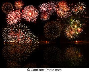 Ein buntes Feuerwerk. Gut für Ihre Objekte, SMS oder Jahresnummern in der Mitte, E.G.2012