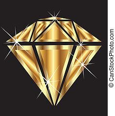 Ein Diamant in Gold mit Klunker