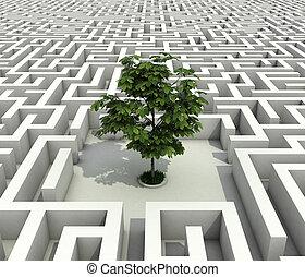 Ein einzelner Baum verloren in endlosem Labyrinth