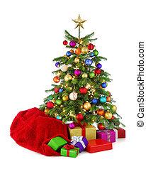 Ein farbenfroher Weihnachtsbaum mit Santa's Tasche und Geschenken.